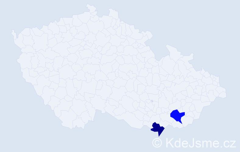 Příjmení: 'Hitmár', počet výskytů 2 v celé ČR