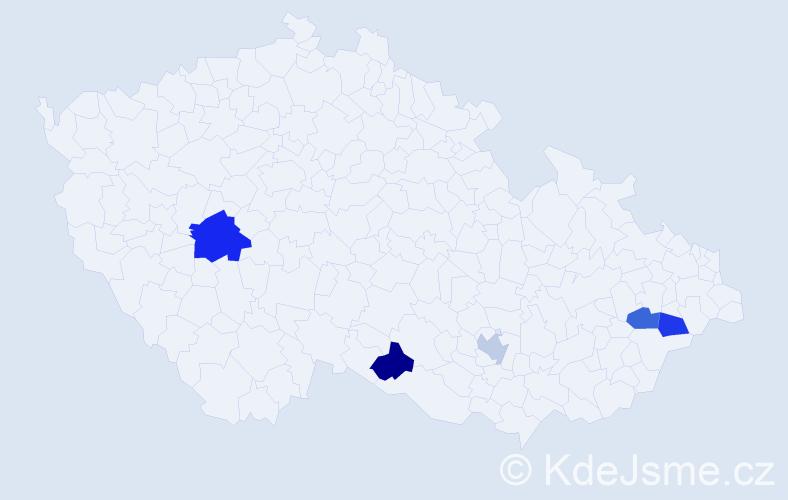 Příjmení: 'Bernardi', počet výskytů 6 v celé ČR