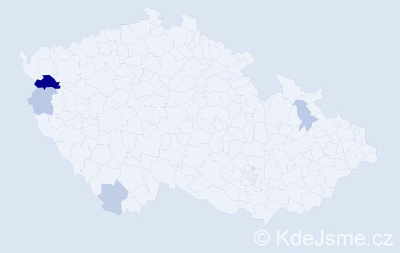 Příjmení: 'Kiprá', počet výskytů 10 v celé ČR