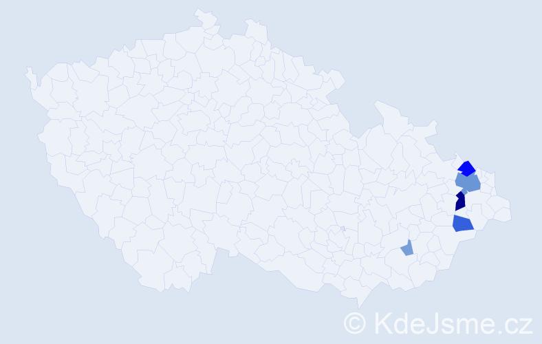 Příjmení: 'Czekajová', počet výskytů 17 v celé ČR