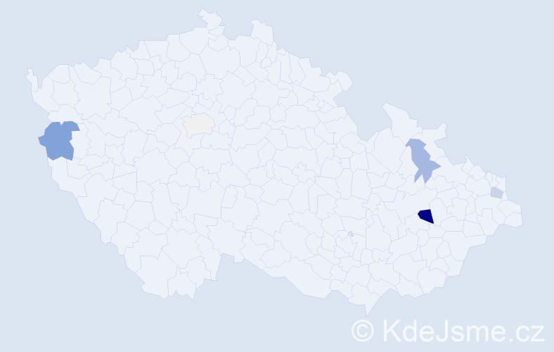 Příjmení: 'Ąoąová', počet výskytů 13 v celé ČR