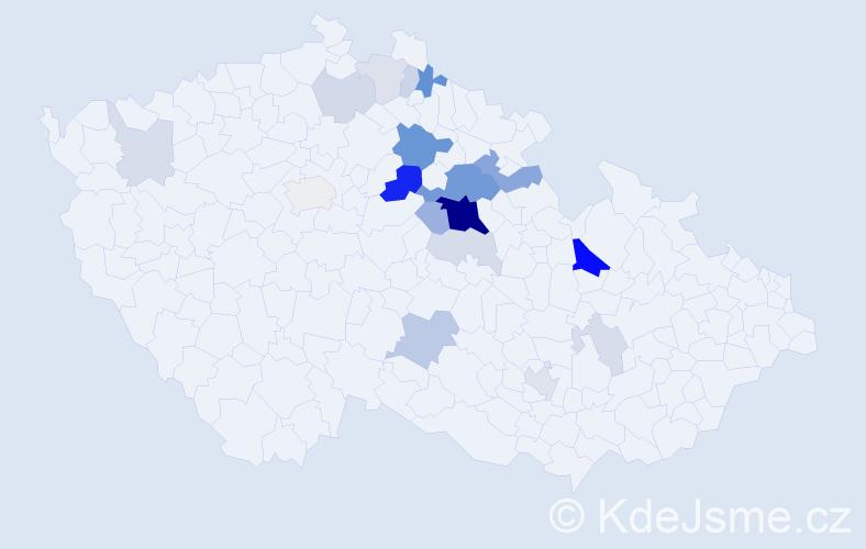 Příjmení: 'Kakrdová', počet výskytů 61 v celé ČR