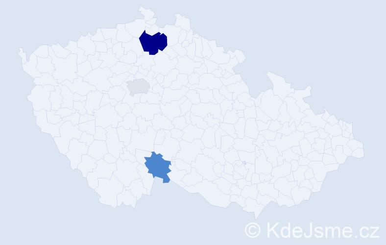 Příjmení: 'Klivický', počet výskytů 10 v celé ČR