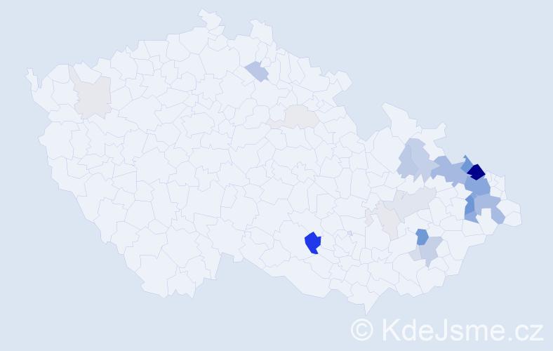 Příjmení: 'Hajdučková', počet výskytů 98 v celé ČR