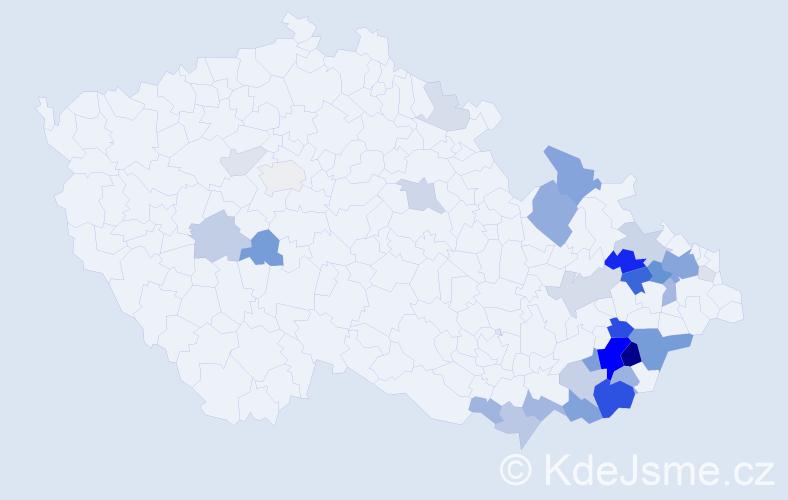 Příjmení: 'Hefka', počet výskytů 106 v celé ČR