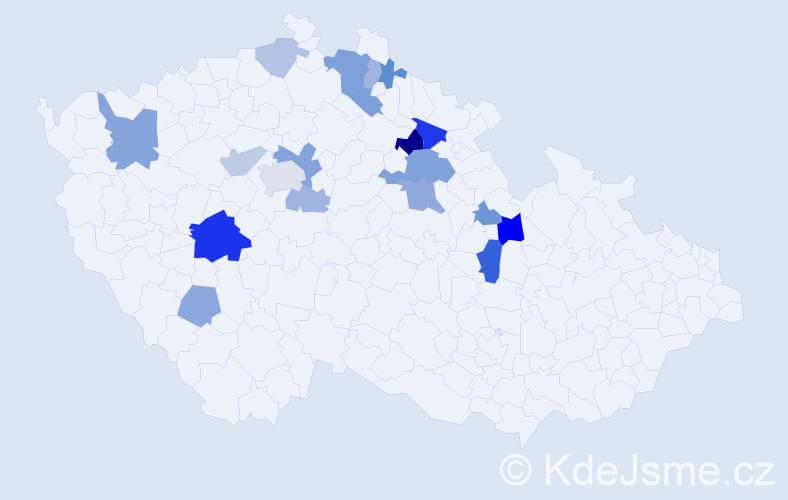 Příjmení: 'Knejfl', počet výskytů 36 v celé ČR
