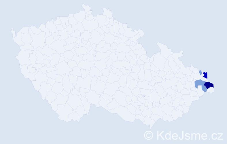 Příjmení: 'Barteczek', počet výskytů 19 v celé ČR