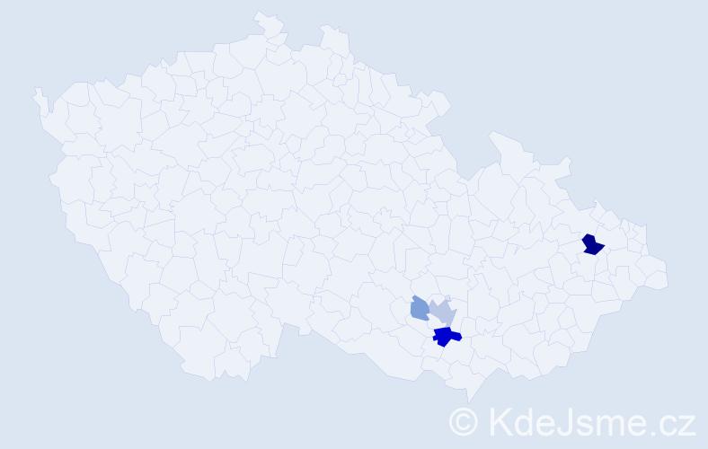 Příjmení: 'Návedla', počet výskytů 13 v celé ČR