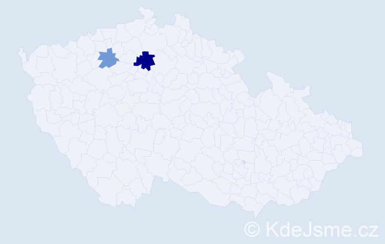 Příjmení: 'Bulna', počet výskytů 4 v celé ČR
