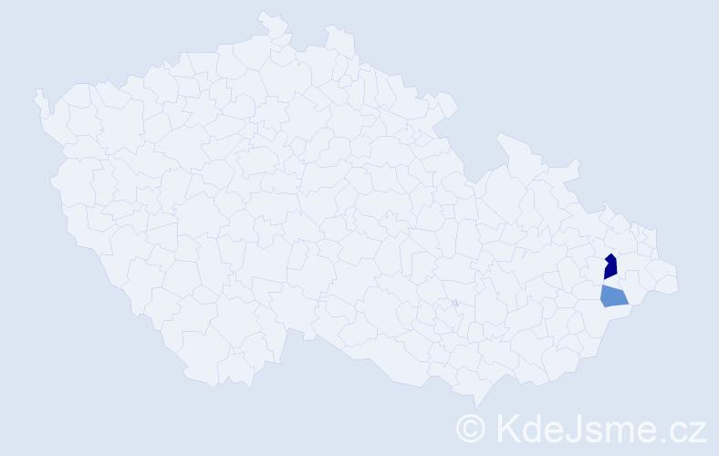 Příjmení: 'Čelárová', počet výskytů 4 v celé ČR