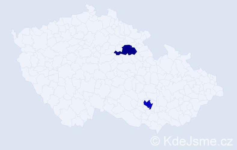 Příjmení: 'Hříb', počet výskytů 3 v celé ČR