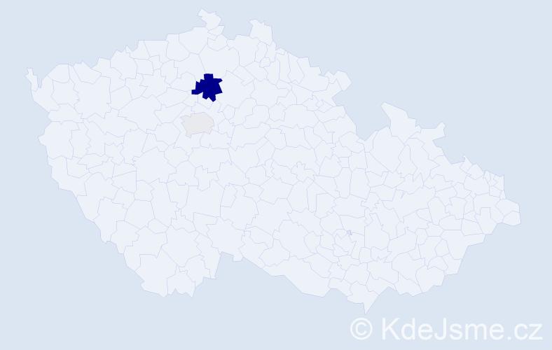 Příjmení: 'Haslbachová', počet výskytů 5 v celé ČR