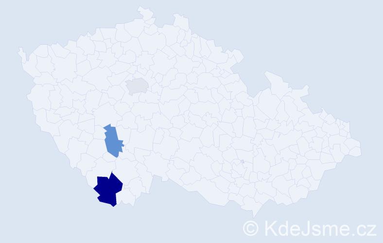 Příjmení: 'Ďurejová', počet výskytů 4 v celé ČR