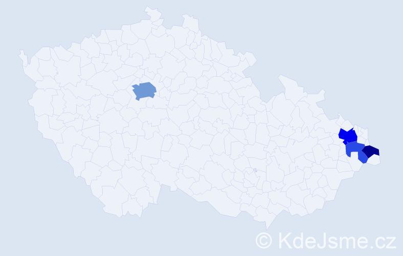 Příjmení: 'Bandolová', počet výskytů 9 v celé ČR