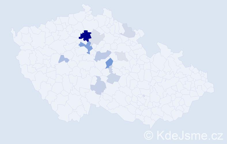 Příjmení: 'Karabáček', počet výskytů 26 v celé ČR