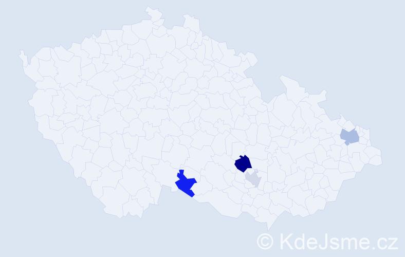 Příjmení: 'Čechánková', počet výskytů 7 v celé ČR