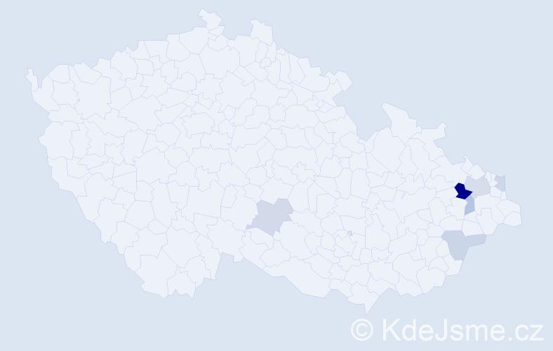 Příjmení: 'Cabúková', počet výskytů 11 v celé ČR