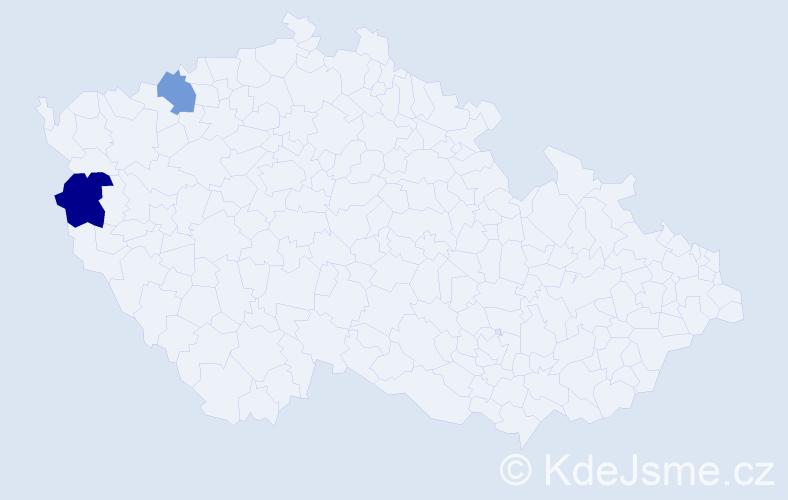 Příjmení: 'Erret', počet výskytů 5 v celé ČR