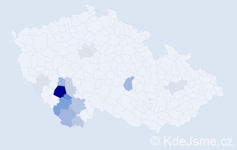 Příjmení: 'Frčka', počet výskytů 58 v celé ČR