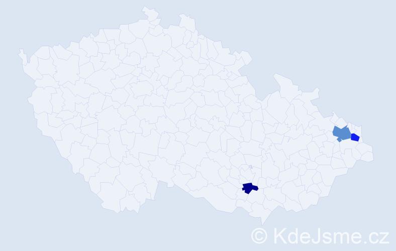 Příjmení: 'Elingerová', počet výskytů 6 v celé ČR
