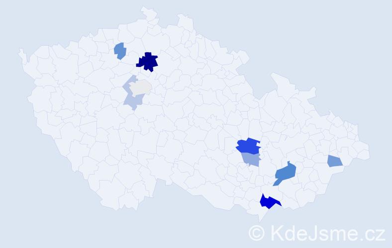 Příjmení: 'Hunča', počet výskytů 20 v celé ČR