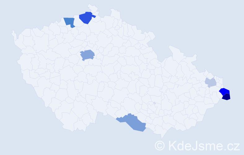 Příjmení: 'Jonczy', počet výskytů 16 v celé ČR