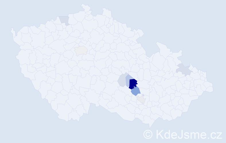 Příjmení: 'Cacka', počet výskytů 22 v celé ČR