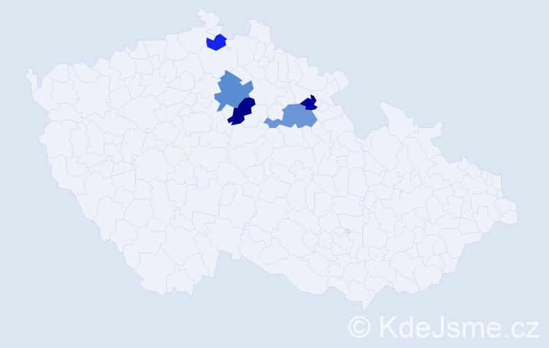 Příjmení: 'Kudyvejs', počet výskytů 8 v celé ČR