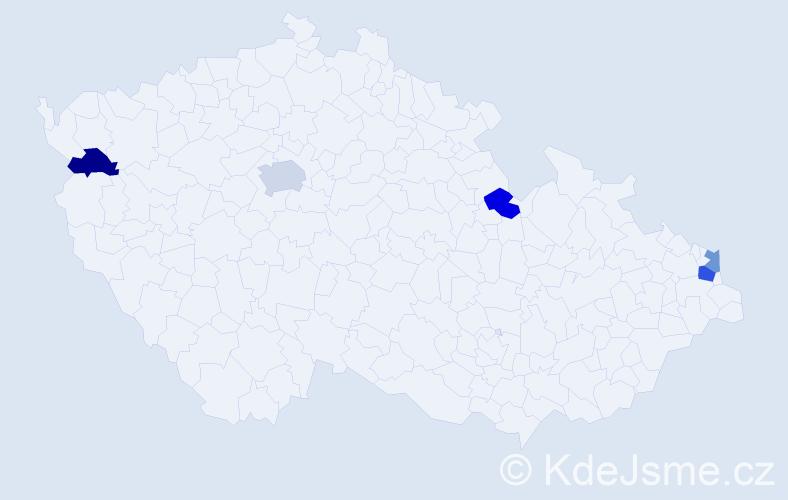 Příjmení: 'Jalčáková', počet výskytů 7 v celé ČR