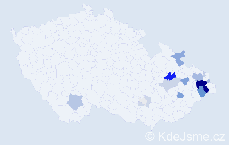 Příjmení: 'Čapčuch', počet výskytů 46 v celé ČR