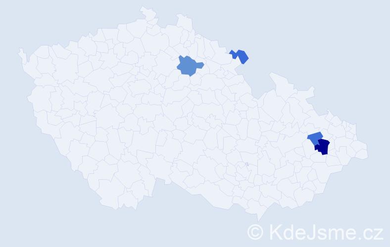 Příjmení: 'Dědiková', počet výskytů 9 v celé ČR