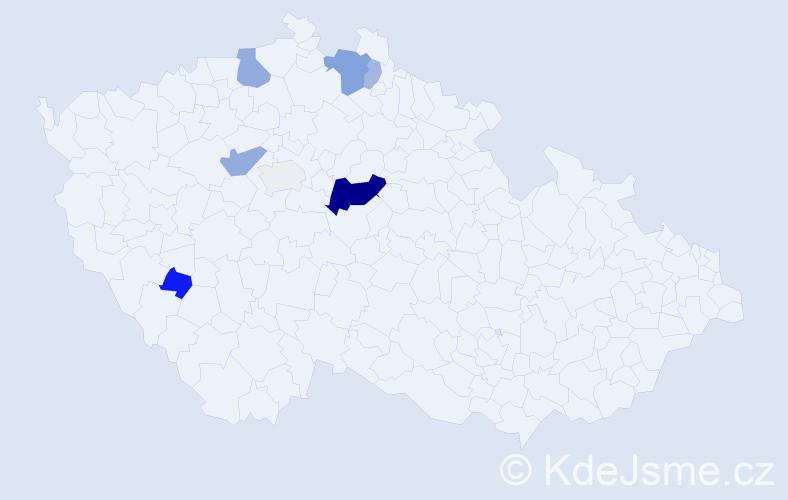 Příjmení: 'Ahnel', počet výskytů 18 v celé ČR
