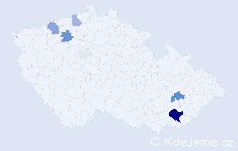 Příjmení: 'Handrlicová', počet výskytů 11 v celé ČR