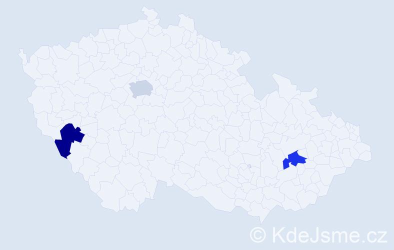Příjmení: 'Izso', počet výskytů 3 v celé ČR