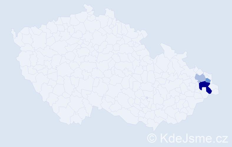 Příjmení: 'Čelínová', počet výskytů 5 v celé ČR
