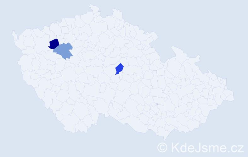 Příjmení: 'Hlavánová', počet výskytů 3 v celé ČR