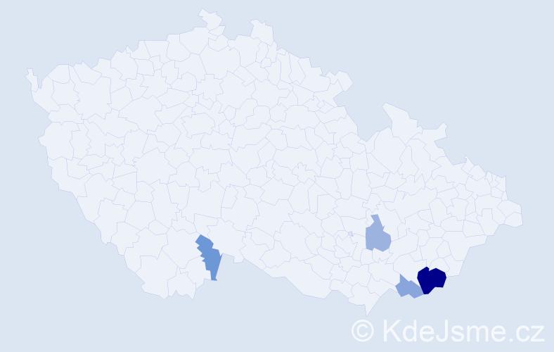 Příjmení: 'Krasnec', počet výskytů 9 v celé ČR