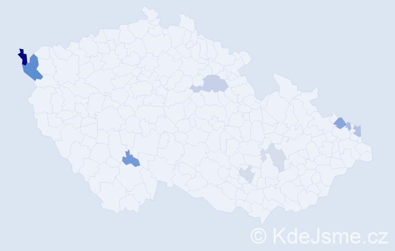 Příjmení: 'Bartoková', počet výskytů 21 v celé ČR