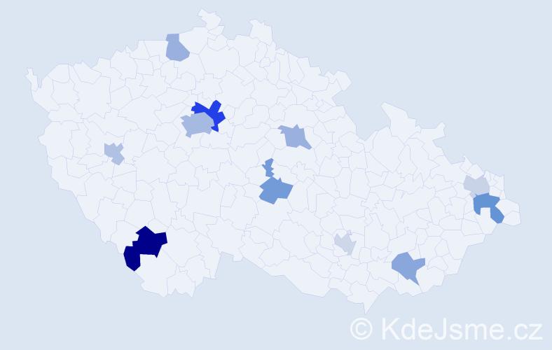 Příjmení: 'Barczi', počet výskytů 20 v celé ČR