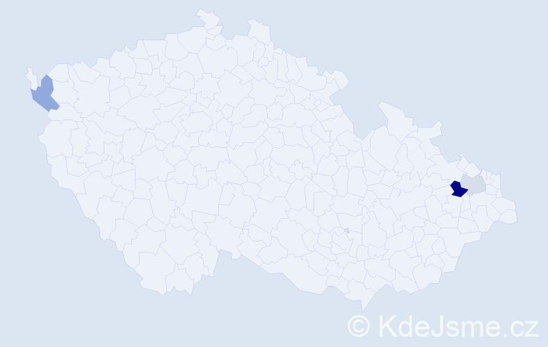 Příjmení: 'Hlipalová', počet výskytů 9 v celé ČR