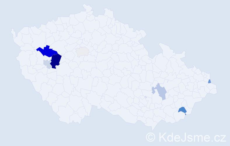 Příjmení: 'Labáková', počet výskytů 12 v celé ČR