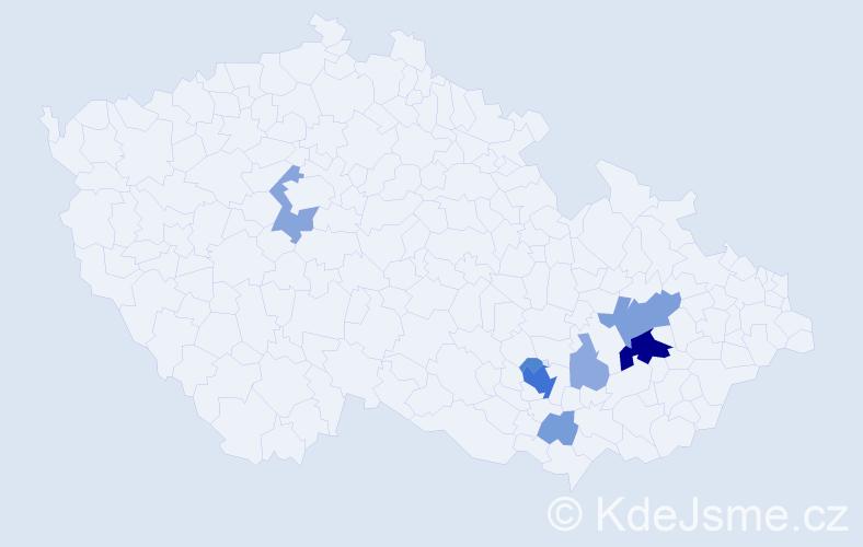 Příjmení: 'Hanečková', počet výskytů 27 v celé ČR