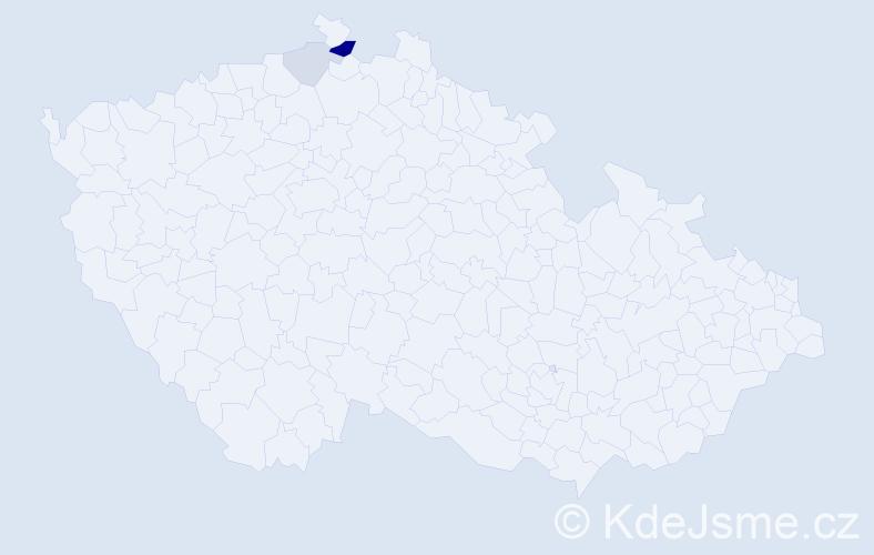 """Příjmení: '""""Bali Šoltésová""""', počet výskytů 6 v celé ČR"""