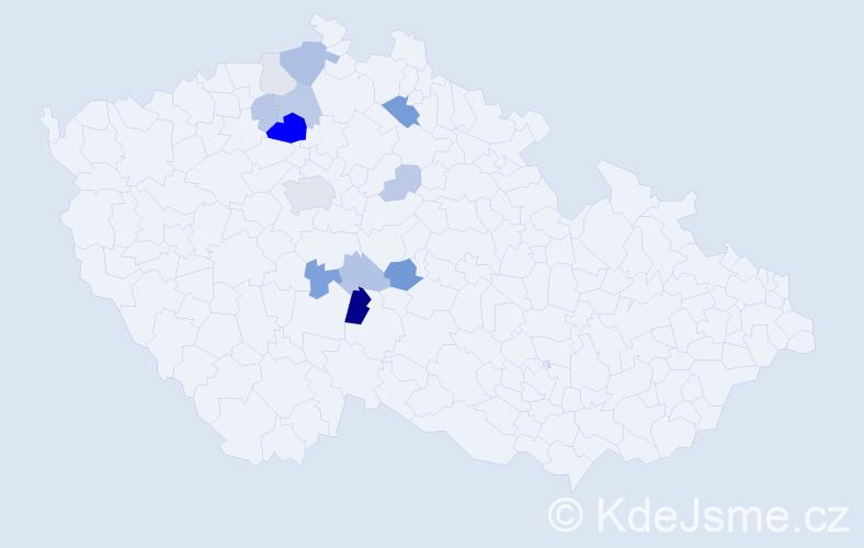 Příjmení: 'Cuchý', počet výskytů 33 v celé ČR