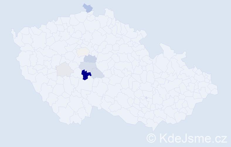 Příjmení: 'Klaudys', počet výskytů 20 v celé ČR