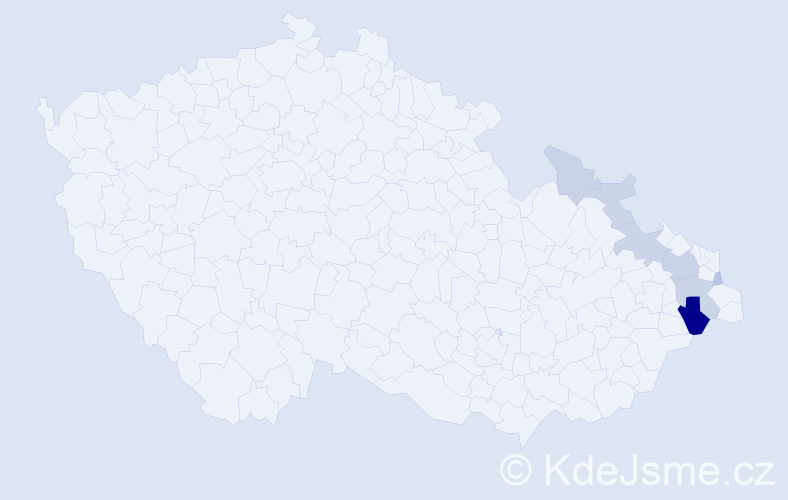 Příjmení: 'Česlarová', počet výskytů 19 v celé ČR