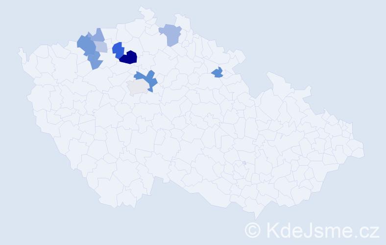 Příjmení: 'Káně', počet výskytů 21 v celé ČR