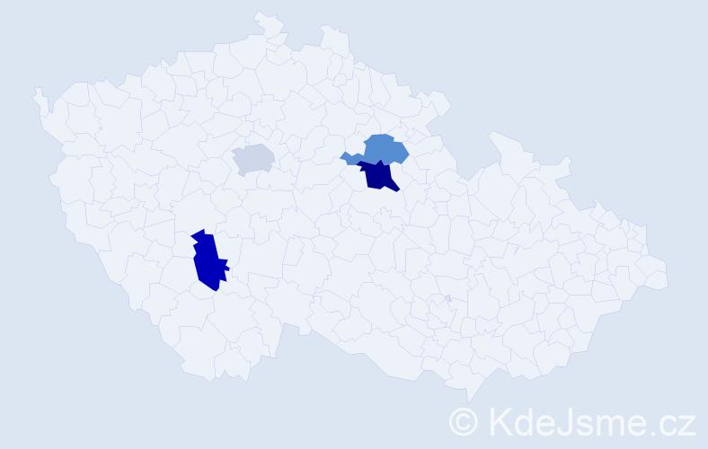 Příjmení: 'Klobučarová', počet výskytů 5 v celé ČR