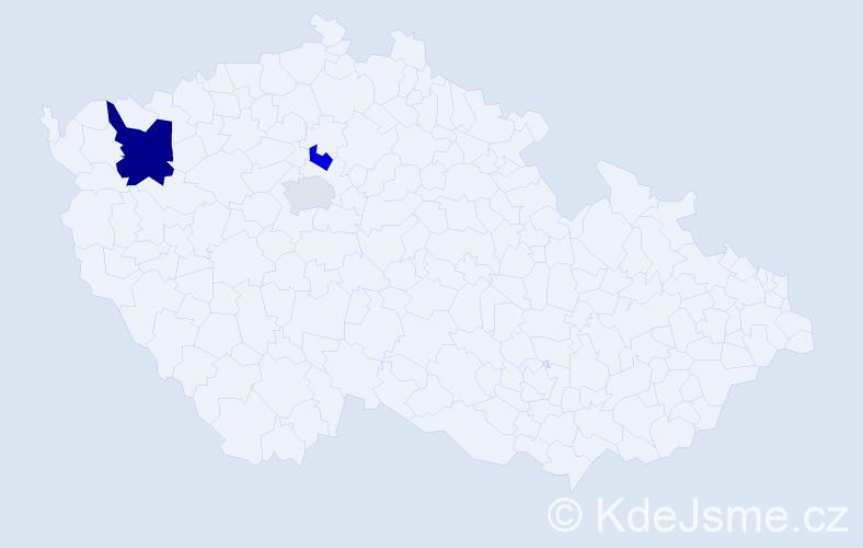 Příjmení: 'Giorgiuttiová', počet výskytů 5 v celé ČR