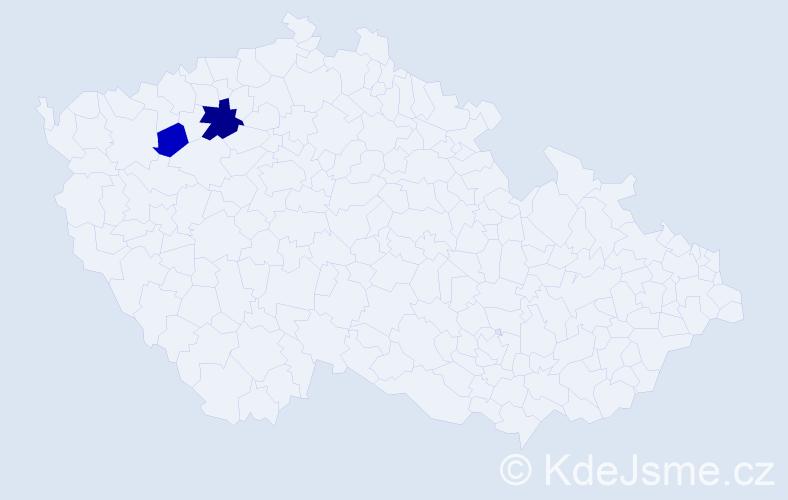 Příjmení: 'Legiňová', počet výskytů 4 v celé ČR